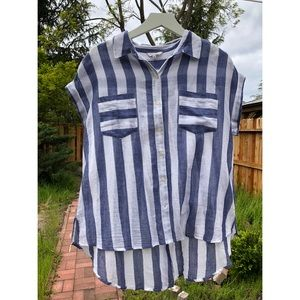 Lucky Brand striped button up blouse
